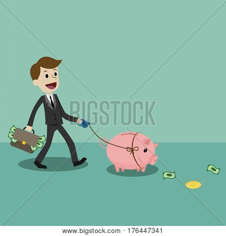 Finance and relationships concept. Businessman with a pig bank. Businessman putting coin into the piggy banks