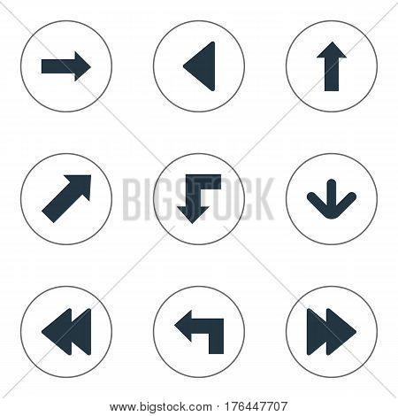 Vector Illustration Set Of Simple Cursor Icons. Elements Reduction, Downwards Pointing, Left Landmark Synonyms Direction, Upward And Arrow.