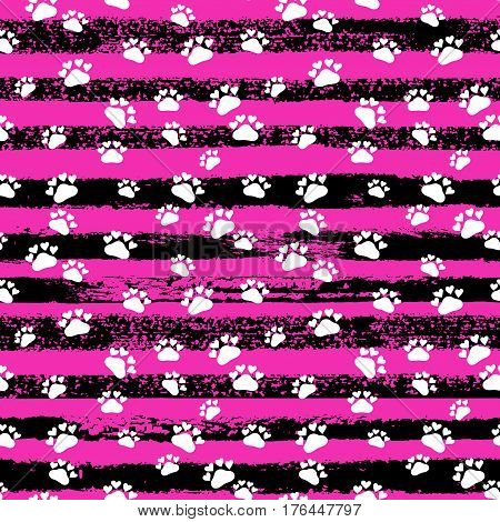 Vector Fashion Seamless Pattern With Cat's Trace, Hand Drawn Stripes. Pop Art Ink Fabric Texture.