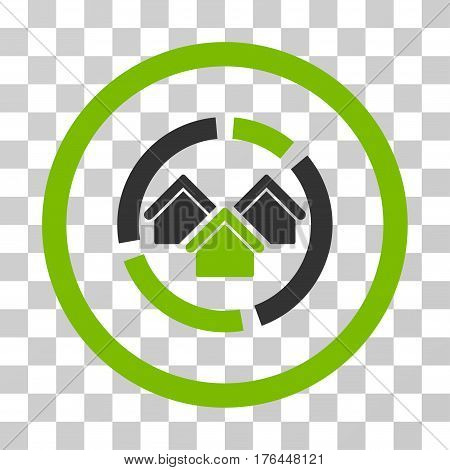 Realty Diagram icon. Vector illustration style is flat iconic bicolor symbol eco green and gray colors transparent background. Designed for web and software interfaces.