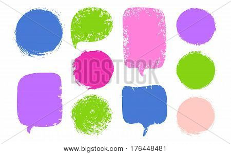 Vector Collection Colorful Speech Bubbles, Labels, Shapes Isolated On Black Background. Abstract Des