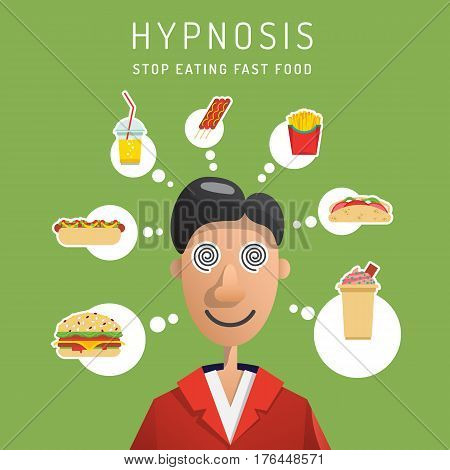 The man who was introduced to hypnosis and convinced of the correctness of a healthy diet and the dangers of fast food on his body. Vector illustration in flat style