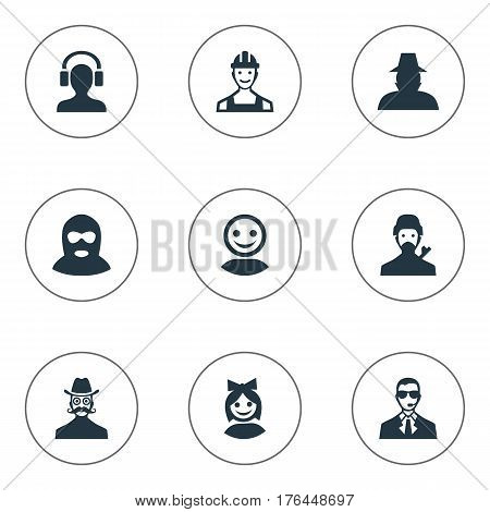 Vector Illustration Set Of Simple Avatar Icons. Elements Felon, Proletarian, Bodyguard And Other Synonyms Internet, Engineer And Proletarian.
