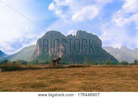 view on Pha Ngern Mountain at Vang Vieng Laos