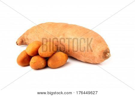 Sweet potato (batat) isolated on white background.