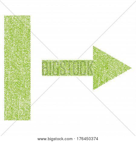 Pull Right vector textured icon for overlay watermark stamps. Fabric light green vectorized texture. Symbol with scratched design. Rubber seal stamp with fiber textile structure.