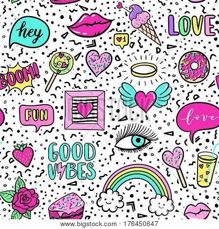 Vector Seamless Pattern With Fashion Fun Patches: Lip, Star, Strawberry, Speech Bubble On Background