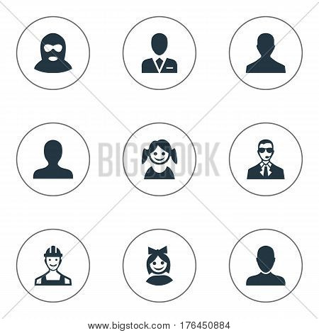 Vector Illustration Set Of Simple Member Icons. Elements Girl Face, Felon, Proletarian And Other Synonyms Man, Small And Male.
