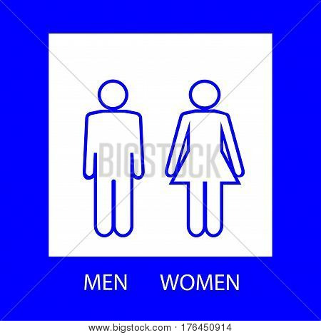 WC mark. Blue silhouette men and women sign on white square. Sign restroom women and men. Icon public toilette and bathroom for hygiene. Template for postersign. Flat vector image. Vector illustration