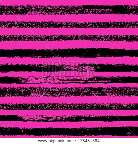 Vector Grunge Hand Drawn Colorful Abstract Stripe Seamless Pattern. Pop Art Ink Fabric Texture. Fash