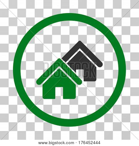 Realty icon. Vector illustration style is flat iconic bicolor symbol green and gray colors transparent background. Designed for web and software interfaces.