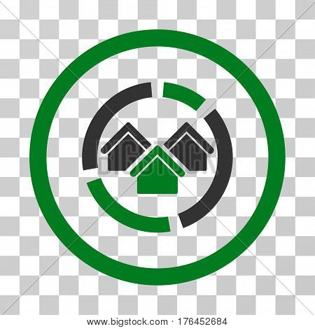 Realty Diagram icon. Vector illustration style is flat iconic bicolor symbol green and gray colors transparent background. Designed for web and software interfaces.