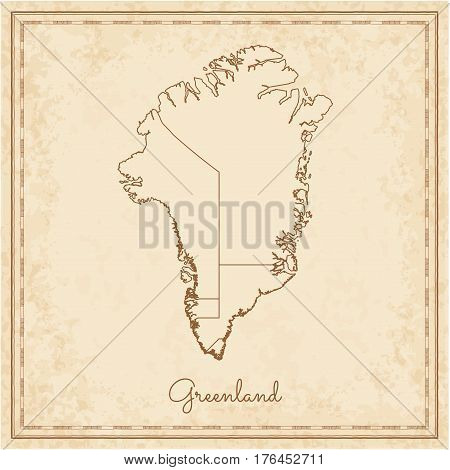 Greenland Region Map: Stilyzed Old Pirate Parchment Imitation. Detailed Map Of Greenland Regions. Ve