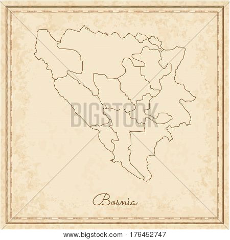 Bosnia Region Map: Stilyzed Old Pirate Parchment Imitation. Detailed Map Of Bosnia Regions. Vector I