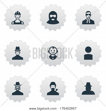 Vector Illustration Set Of Simple Human Icons. Elements Moustache Man, Proletarian, Bodyguard And Other Synonyms Bodyguard, Little And Agent.