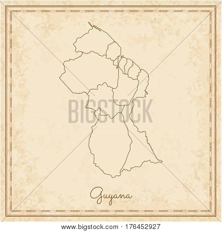Guyana Region Map: Stilyzed Old Pirate Parchment Imitation. Detailed Map Of Guyana Regions. Vector I