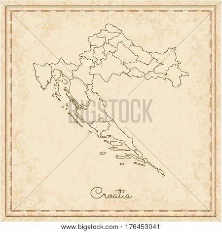 Croatia Region Map: Stilyzed Old Pirate Parchment Imitation. Detailed Map Of Croatia Regions. Vector