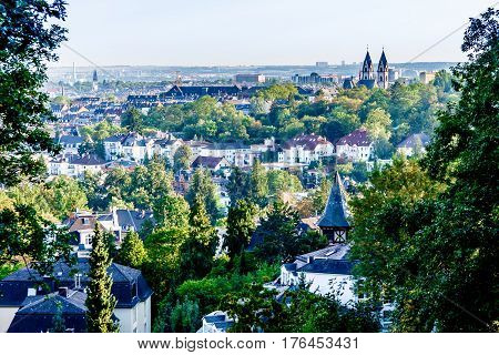 cityscape of Wiesbaden the capital of the federal state of Hesse in Germany