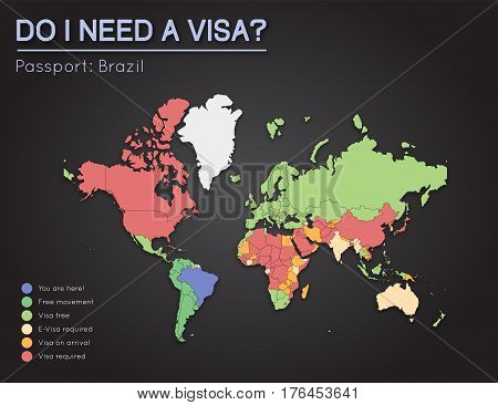 Visas Information For Federative Republic Of Brazil Passport Holders. Year 2017. World Map Infograph
