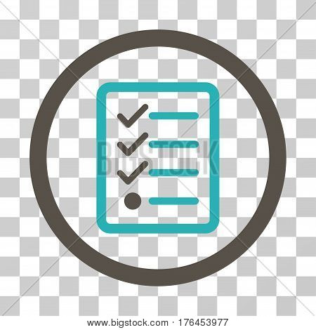 Checklist icon. Vector illustration style is flat iconic bicolor symbol grey and cyan colors transparent background. Designed for web and software interfaces.
