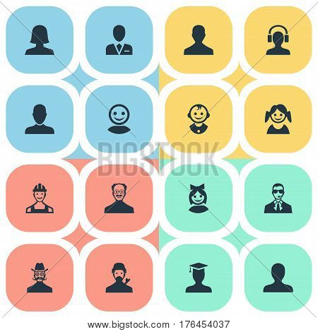 Vector Illustration Set Of Simple Member Icons. Elements Girl Face, Workman, Mysterious Man And Other Synonyms Face, Headphone And Mustache.