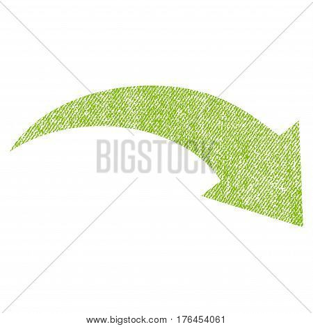 Redo vector textured icon for overlay watermark stamps. Fabric light green vectorized texture. Symbol with dust design. Rubber seal stamp with fiber textile structure.