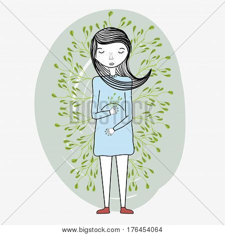 woman mother with ayes closed, vector illustration design