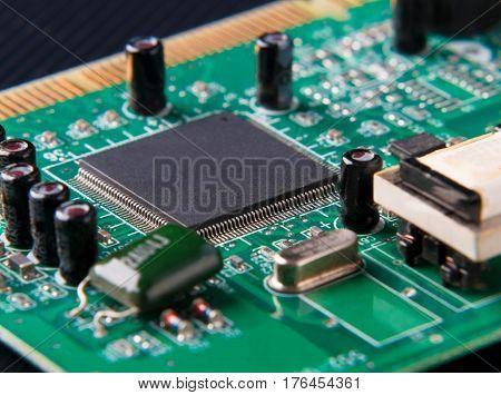 close-up of electronic circuit board with microchip