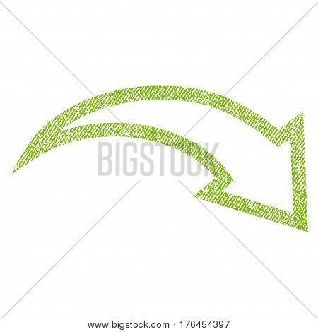Redo vector textured icon for overlay watermark stamps. Fabric light green vectorized texture. Symbol with dirty design. Rubber seal stamp with fiber textile structure.