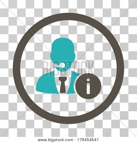 Help Desk Manager icon. Vector illustration style is flat iconic bicolor symbol grey and cyan colors transparent background. Designed for web and software interfaces.