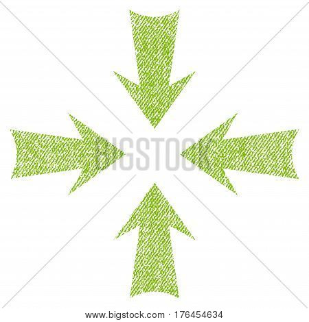 Reduce Arrows vector textured icon for overlay watermark stamps. Fabric light green vectorized texture. Symbol with scratched design. Rubber seal stamp with fiber textile structure.