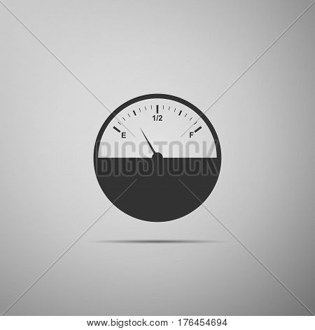 Fuel gauge flat icon on grey background. Vector Illustration