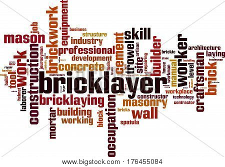 Bricklayer word cloud concept. Vector illustration on white