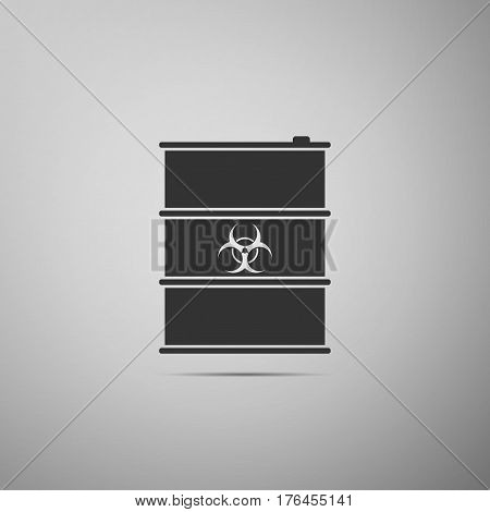 Biological hazard or biohazard barrel flat icon on grey background. Toxic refuse keg. Radioactive garbage emissions, environmental pollution, danger of ecological disaster. Vector Illustration