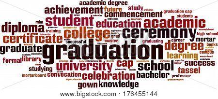 Graduation word cloud concept. Vector illustration on white