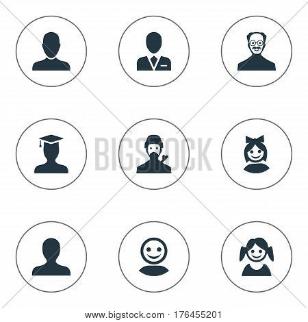 Vector Illustration Set Of Simple Human Icons. Elements Internet Profile, Postgraduate, Workman And Other Synonyms Graduate, Small And Avatar.