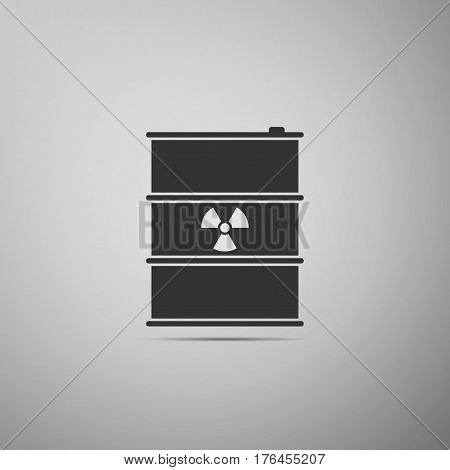 Radioactive waste in barrel flat icon on grey background. Toxic refuse keg. Radioactive garbage emissions, environmental pollution, danger of ecological disaster. Vector Illustration