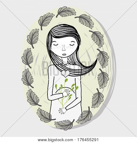 mothr with ayes closed and leaves, vector illustration design