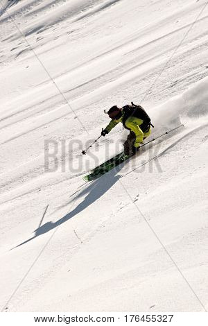 Freerider skiing in the mountains of Siberia