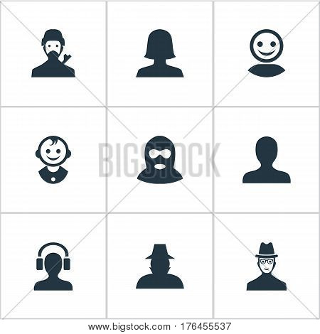 Vector Illustration Set Of Simple Member Icons. Elements Felon, Male With Headphone, Mysterious Man And Other Synonyms Personal, Female And Young.