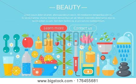 Concept beauty and shopping icons . Beauty, shopping, fashion concept infographics template design, web header icons elements. Vector illustration