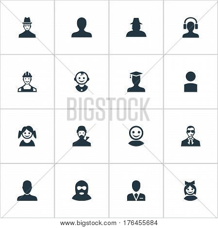 Vector Illustration Set Of Simple Member Icons. Elements Agent, Young Shaver, Internet Profile And Other Synonyms Culprit, Member And Daughter.