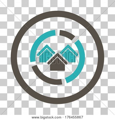 Realty Diagram icon. Vector illustration style is flat iconic bicolor symbol grey and cyan colors transparent background. Designed for web and software interfaces.