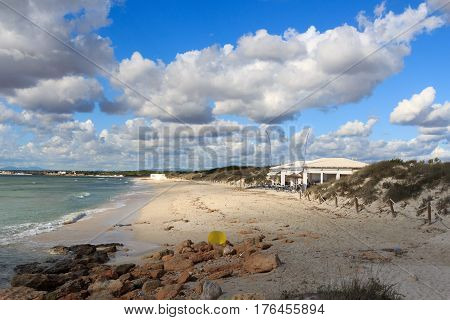 Lonely Platja Es Trenc beach panorama beach bar and Mediterranean Sea on Majorca Spain