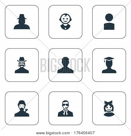 Vector Illustration Set Of Simple Human Icons. Elements Postgraduate, Agent, Young Shaver And Other Synonyms Little, Graduate And Security.