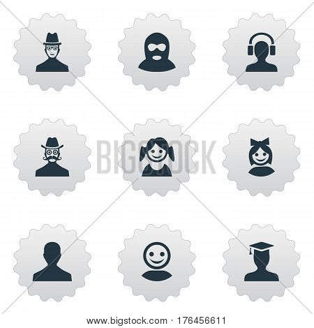 Vector Illustration Set Of Simple Member Icons. Elements Little Girl, Internet Profile, Postgraduate And Other Synonyms Culprit, Hat And Male.