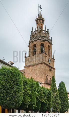 Tower of church of Santa Maria la Mayor in Ronda Spain