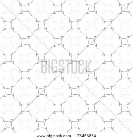 Regular trellis pattern of curved calligraphic strokes. Neutral white and grey ornamental background. Vector seamless repeat.