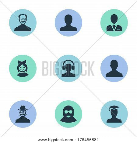 Vector Illustration Set Of Simple Member Icons. Elements Postgraduate, Whiskers Man, Portrait And Other Synonyms Face, Offender And Student.