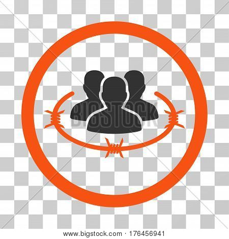 Concentration Camp icon. Vector illustration style is flat iconic bicolor symbol orange and gray colors transparent background. Designed for web and software interfaces.